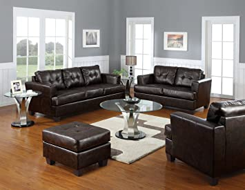Acme 15071B Diamond Bonded Leather Loveseat with Wood Leg, Brown