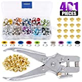 Swpeet 300Pcs 10 Colors 3/16 inch Metal Grommets Kit and 1Pcs Eyelet Hole Punch Pliers with 100Pcs Gold Grommets, Metal Eyelets Kits Shoe Eyelets Grommet Sets for Leather Fabric Belt Clothes