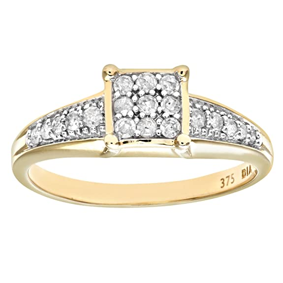 Naava Diamond Set Shoulders and 9 ct Yellow Gold Square Design Ring