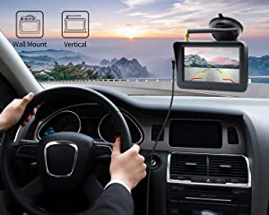 FOOKOO Wireless Backup Camera and Monitor Kit 5 HD Screen License Plate Camera with Frame IP69K Waterproof Rear View Camera with Parking Lines 170° Viewing Angle Universal for All Cars (Color: Black)