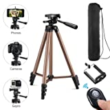 Kwithan 50 Inch Aluminum Tripod Video Tripod for Cellphone and Camera Universal Tripod with Wireless Remote  Cellphone Holder Mount for All Smart Phone, Gopro (Color: 50 Inch Tripod)