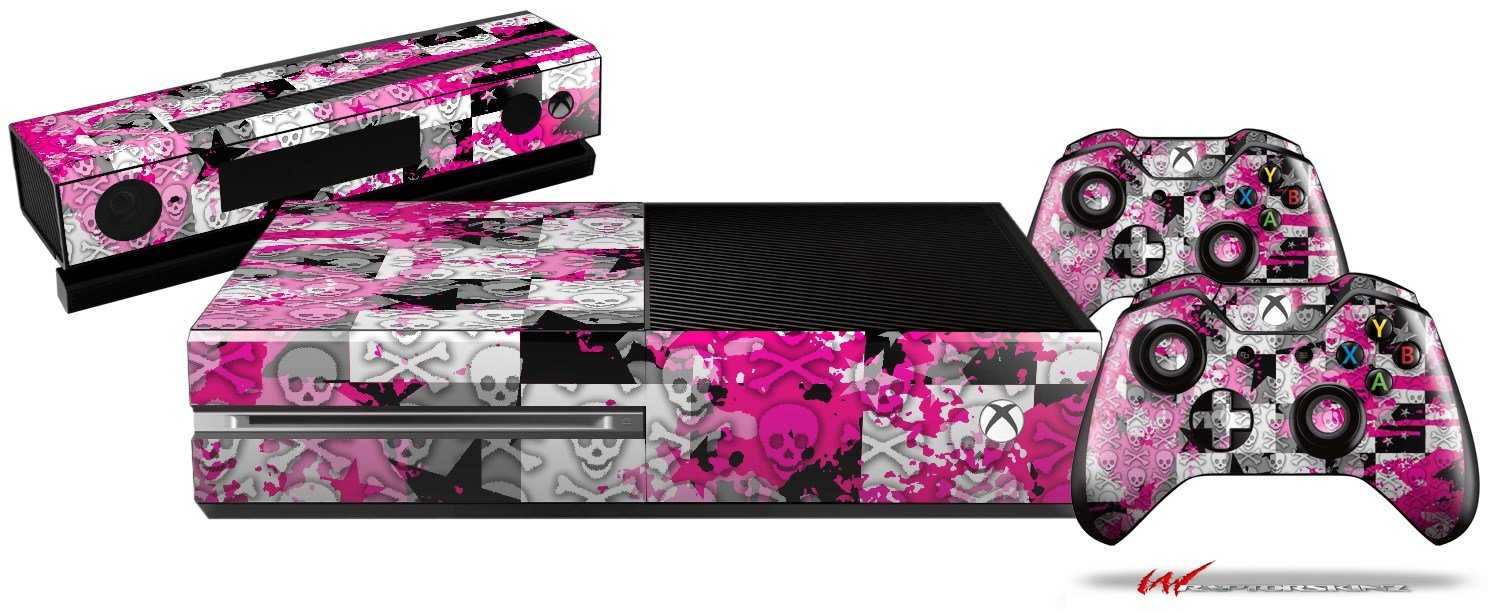 Checker Skull Splatter Pink - Holiday Bundle Decal Style Skin fits XBOX One Console, Kinect and 2 Controllers (XBOX SYSTEM SOLD SEPARATELY)
