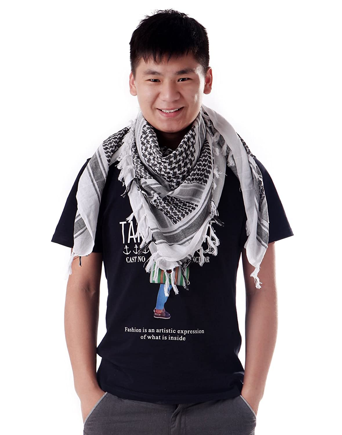 HDE Cotton Arab Desert Tactical Shemagh Keffiyeh Head Neck Cover Fashion Scarf (White) at Amazon Men's Clothing store