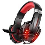 DIZA100 Kotion Each G9000 Gaming Headset Headphone 3.5mm Stereo Jack with Mic LED Light for Xbox One S/Xbox one/PS4/Tablet/Laptop/Cell Phone-Black&Red (Color: Red)