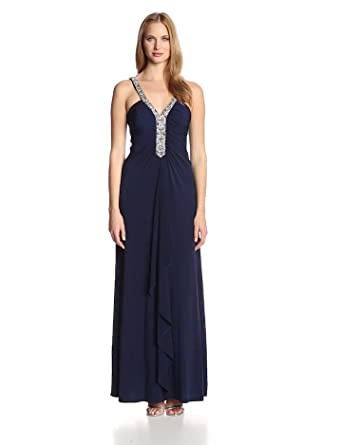JS Boutique Women's V-Neck Gown with Sequin Detail, Navy/Silver, 2