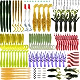 Soft Fishing lures,Soft tackle box, WSNDY 123pcs Soft Plastic Lures Tackle Set is both for Freshwater and Saltwater (123pcs) (Color: 123pcs)