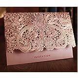 WOMHOPE 50 Pcs - Elegance Lace Emboss Laser Cut Card Wedding Invitation Party Folding Invitations Cards Birthday Invitations Cards Wedding Favors Party Favors (Pink (Set of 50 pcs)) (Color: Pink (Set of 50 Pcs), Tamaño: 7.28