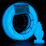 AMOLEN 3D Printer Filament, Glow in the Dark Blue PLA Filament 1.75mm +/- 0.03 mm, 200G(0.44lb), includes Sample Fluorescent Orange Filament - 100% USA (Color: Blue Glow, Tamaño: 200G)