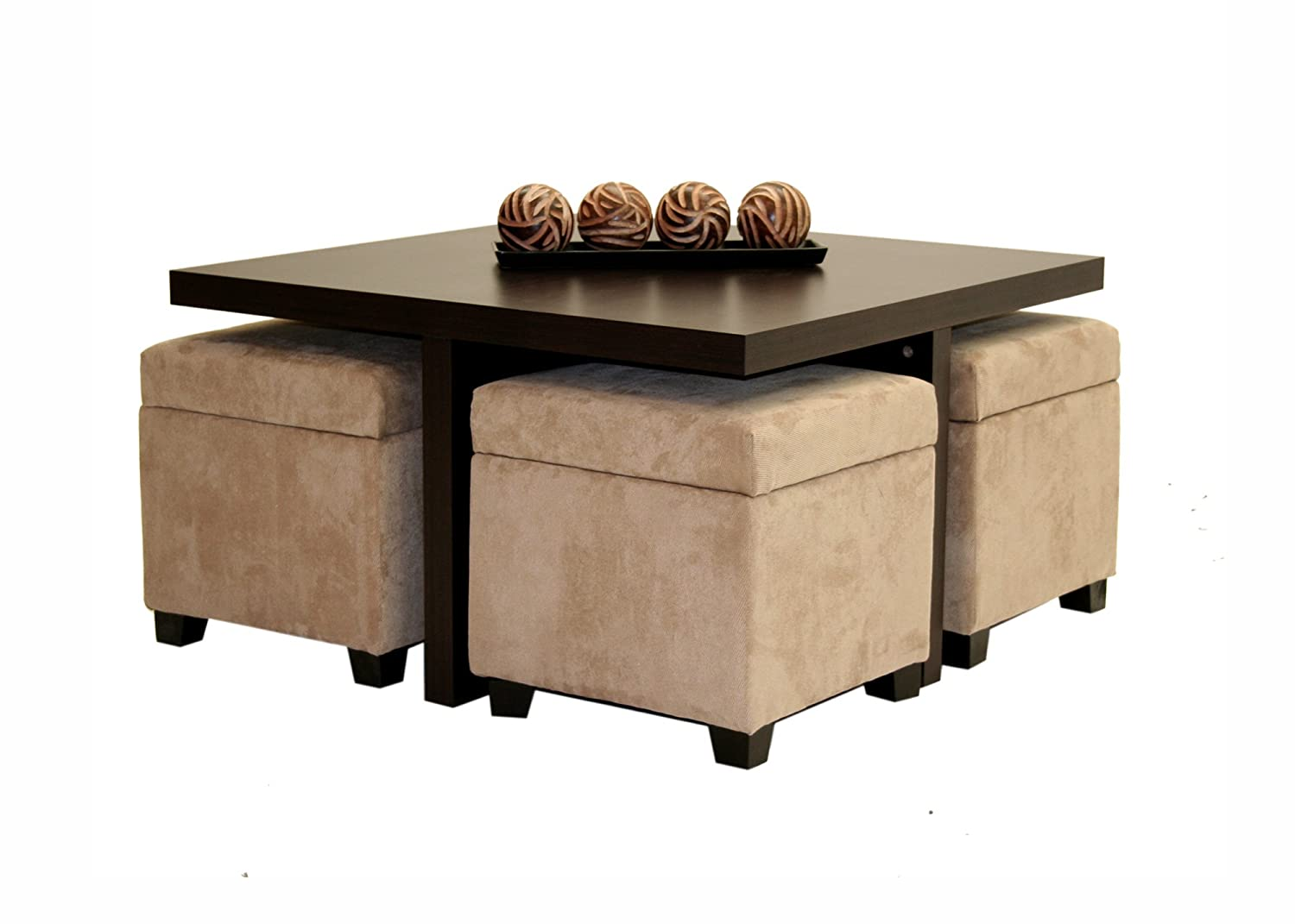Dorel Home Products Club Table With 4 Ottomans 35 5 X 30 5 X 20 Inches