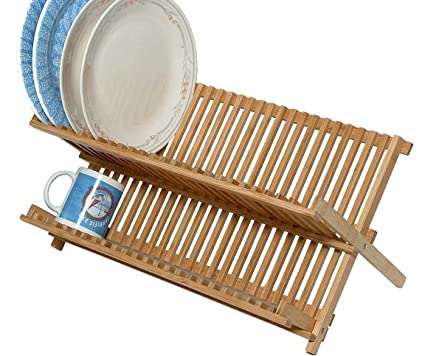 Amazon.com - Bamboo Scissor Style Folding Dish Rack W/Flatware Holder Set. - Wood Dish Drainer With Utensil Holder