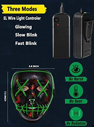 FLY2SKY 1PC Red Halloween Mask Light Up Toys LED Light Up Mask LED Mask Glowing Mask Frightening Luminous Halloween Cosplay LED Purge Mask for Festival Entertainment Halloween Party Favors for Kids