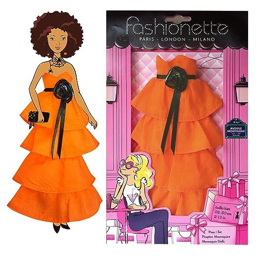 """Fashionette - Loisir créatif - Collection Les Robes à décorer - avec Strass autocollants - Robe à décorer pour poupées Barbie, Princesses Disney, etc. - """"Modèle Halloween Strass"""""""