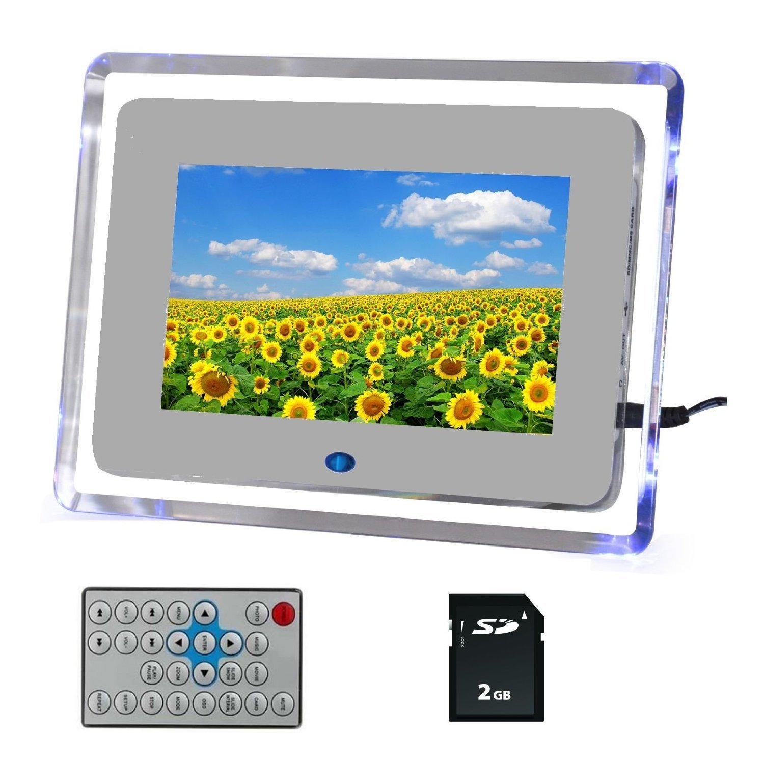 Buwico® Digital Photo Picture Video Frame White Blue Light Includes 2GB SD Card & Remote Control & Mains Charger