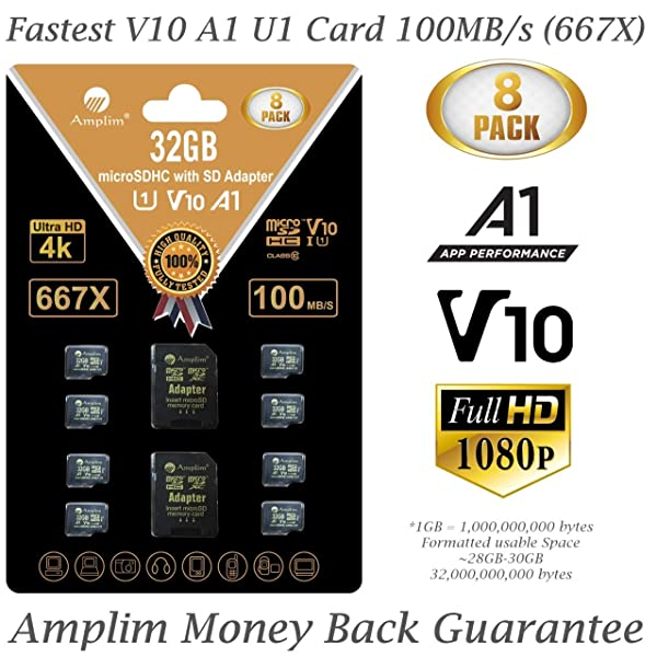 8-Pack Bulk 32GB Micro SDHC Memory Card Plus Adapter - Amplim 32 GB Class 10 Micro SD Card V10 A1. Extreme High Speed 100MB/s 667X microSDHC TF Card. Cell-Phones Tablets Fire Cameras Nintendo Drones (Color: Black 8X 32GB, Tamaño: MicroSD)