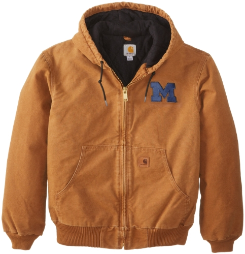 Ncaa Michigan Wolverines Men'S Quilted Flannel Lined Sandstone Active Jacket, Carhartt Brown, Medium front-942896