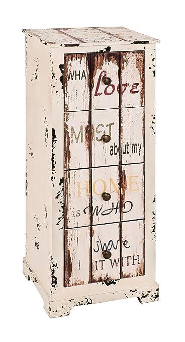 Kommode mit 4 Schubladen in Vintageoptik; Maße (B/T/H) in cm: 30 x 27 x 76
