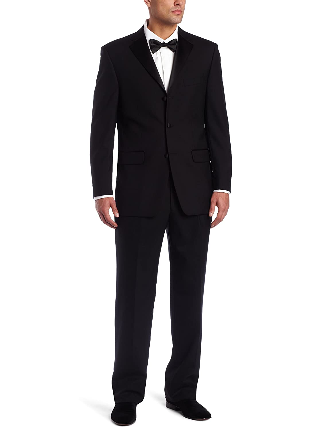 Jones New York Men's 3 Button Non-Vent Double Pleated Tuxedo, Black, 40 Regular