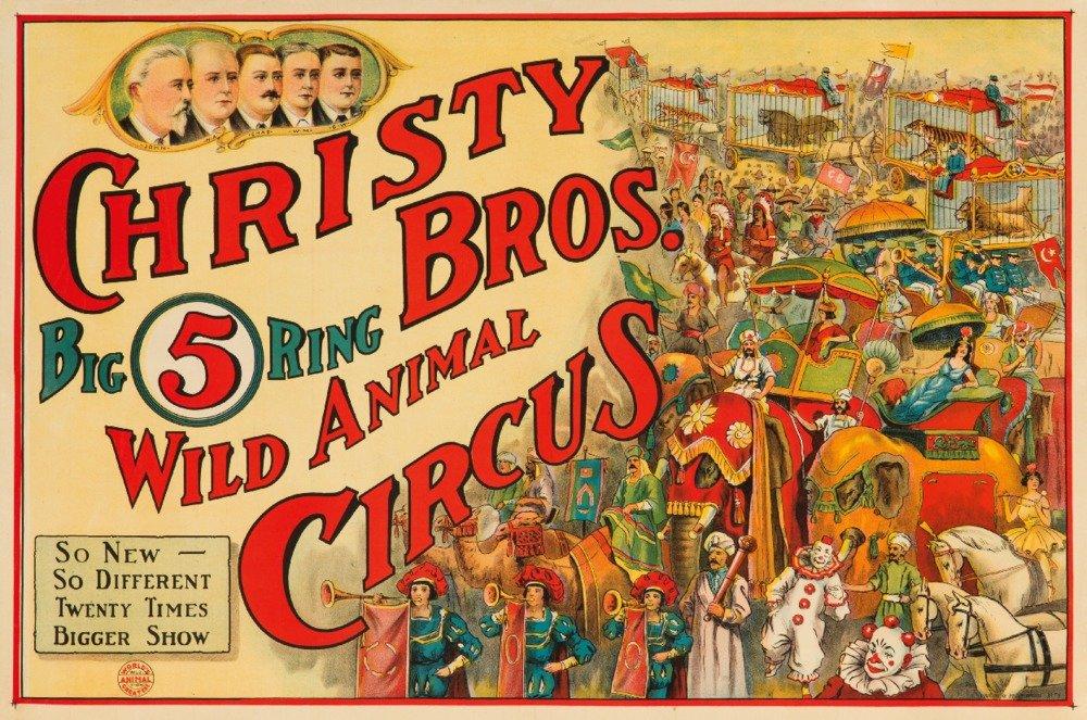 Christy Bros - Wild Animal Circus Vintage Poster USA c. 1924 (9x12 Collectible Art Print, Wall Decor Travel Poster) 0