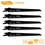 TAROSE 6-Inch 6 TPI HCS Reciprocating Saw Blades Set For Wood, Construction Timber, Boards, Chipboards, MDF, Plywood, Plastics, PVC, Especially for Plunge Cuts, 5-Piece (Tamaño: 6