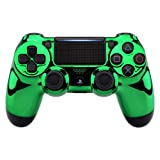 eXtremeRate Chrome Green Edition Faceplate Cover, Front Housing Shell Case Replacement Kit for Playstation 4 PS4 Slim PS4 Pro Controller (CUH-ZCT2 JDM-040 JDM-050 JDM-055) (Color: Chrome Green)