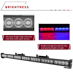 12V-24V, Red//Blue YITAMOTOR 30 Inch Traffic Advisor Light Bar Police Emergency Directional Flashing Safety Strobe Light Bar with Suction Cups