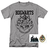 Popfunk Harry Potter Hogwarts Logo T Shirt & Exclusive Stickers (Medium) (Color: Gray, Tamaño: Medium)