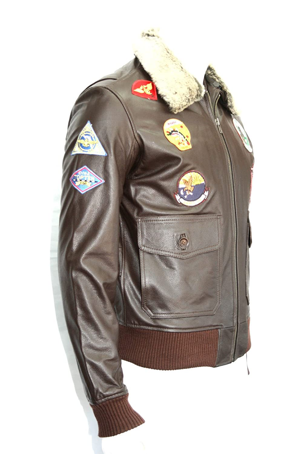 TOP GUN Mens Fashion CLASSIC, SPORT, FELLKRAGEN BROWN Bomberjacke aus Leder