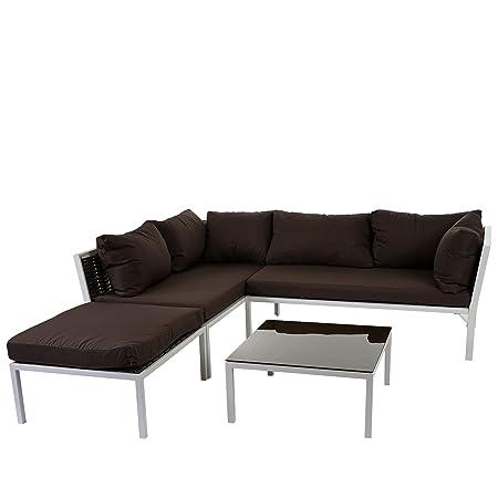 Poly-Rattan Sofa-Garnitur Delphi, Sitzgruppe Lounge-Set, Stahl ~ Set 2, Kissen braun