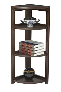 Regency Flip Flop 34-inch High Corner Folding Bookcase- Mocha Walnut