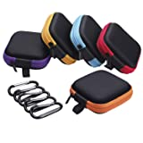 Sunmns 5 Pieces in Ear Bud Earphone Headset Headphone Case Mini Storage Carrying Pouch Bag with Carabiners (Color: Black)