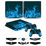 PS4 Slim Controller Skins- Decals for Playstation 4 Slim Games - Stickers Cover for PS4 Slim Console Sony Playstation Four Accessories with Dualshock 4 Two Controllers Skin - Blue Fire (Color: Blue Fire)
