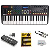 Akai Professional Compact Keyboard Controller (49-Key) with 4-Port USB 2.0 Hub + MIDI Cable Pack of Cable ties & Cleaning Cloth (Tamaño: 49-Key)