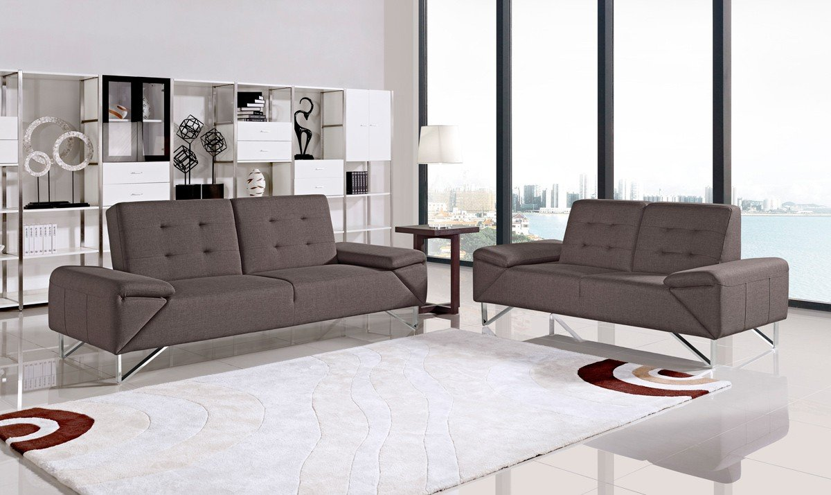 Divani Casa Bauxite Modern Grey Fabric Sofa Set