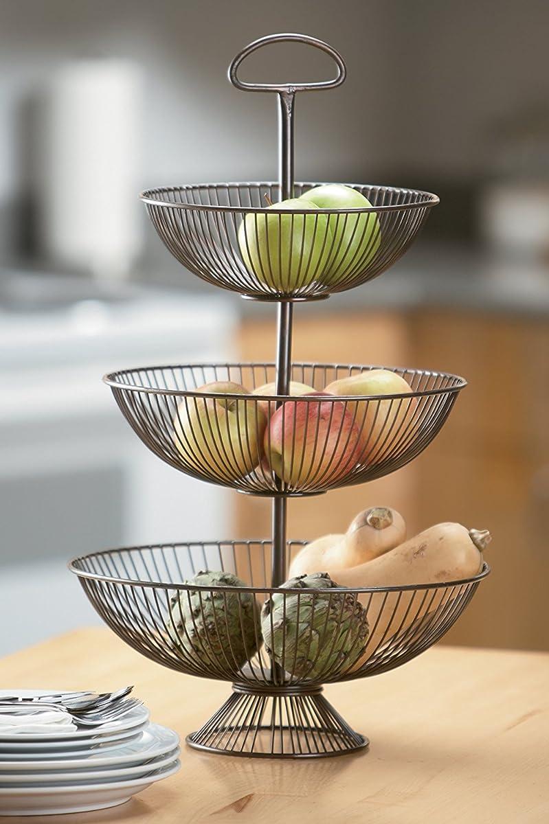 KINDWER 3-Tier Decorative Wire Basket Stand, 24-Inch, Brown