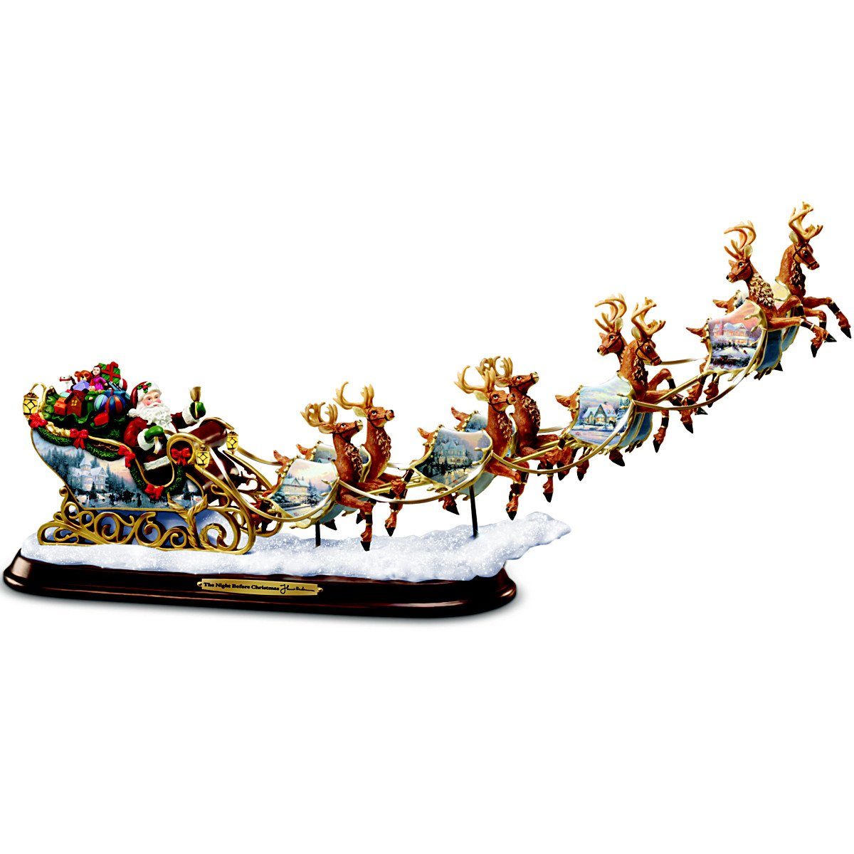 Thomas Kinkade Santa's Sleigh Illuminated Figurine: The Night Before Christmas