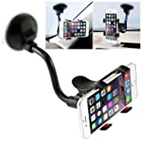 Car Phone Mount Windshield, Long Arm Clamp iVoler Universal Dashboard with Double Clip Strong Suction Cup Cell Phone Holder for iPhone 8 8 Plus X 7 7 Plus 6 6 Plus Galaxy S5 S6 S7 S8 Google LG Huawei (Color: Black)