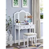 Roundhill Furniture Sanlo White Wooden Vanity, Make Up Table and Stool Set (Color: White)
