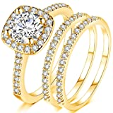 Jude Jewelers Silver Rose Gold Three-in-One Wedding Engagement Bridal Halo Ring Set (Gold, 10) (Color: Gold)
