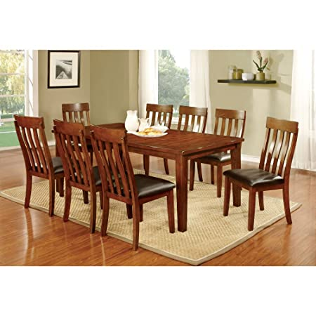 Furniture of America Ginsberg Transitional 9 Piece Dining Table Set
