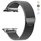 Tirnga Compatible with Apple Watch Band 44mm, iWatch Bands 44mm Milanese Loop Men Series 3 2 1 Space Grey (Color: Space Grey, Tamaño: 44 mm)