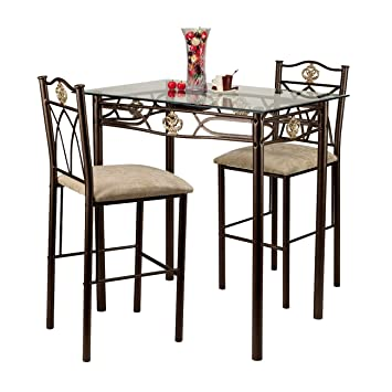 Home Source Industries Crown Bistro 3-Piece Dining Set with Glass Table Top and 2 Chairs