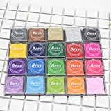 AODOOR Ink Pad Stamps, Craft Ink Pads DIY 20 Colors for Kids, Finger Stamps Pad for Stamps, Paper, Scrapbooking, Woods and Fabric (Pack of 20)