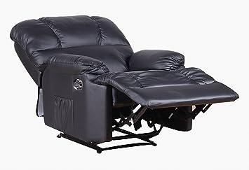 Fernsehsessel aus Kunstleder Relaxsessel TV Sessel in Leder Optik schwarz