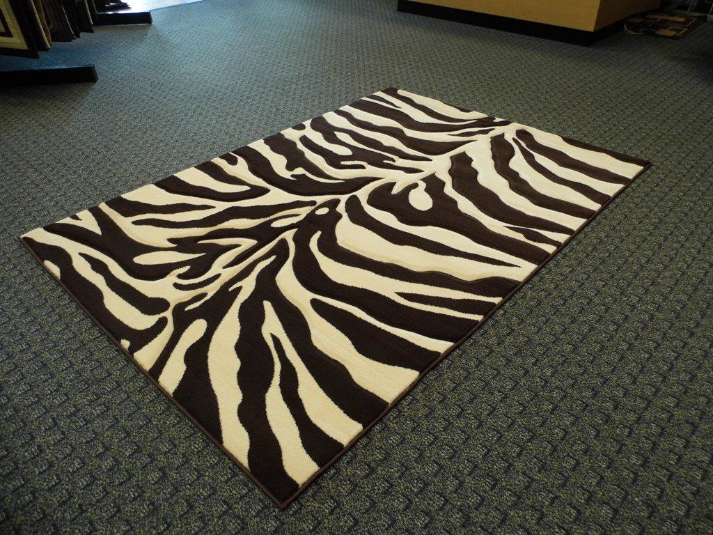 Sculpted Modern Zebra Print Rug 5 Ft. 2 In. X 7 Ft. 3 In. # S245 Chocolate Brown