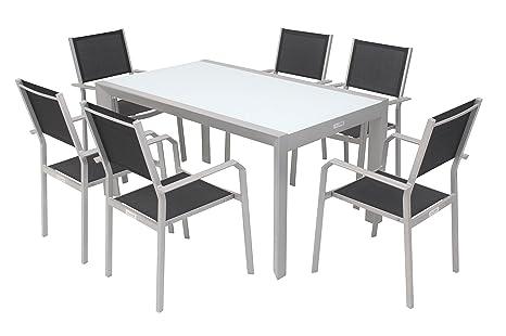 VILLANA Sitzgruppe, silber/schwarz, Alu/Textil, Glastisch 150 x 90cm, 6 Stapelstuhle