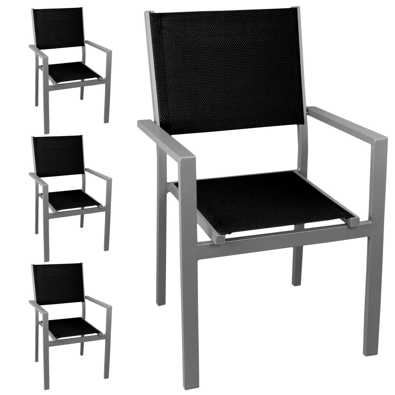 4x Stapelstuhl Gartenstuhl, hochwertige 4×4 Textilenbespannung, Aluminium, stapelbar, silber/schwarz – Gartensessel Bistrostuhl Stapelsessel Balkonmöbel Gartenmöbel Terrassenmöbel Sitzmöbel jetzt bestellen