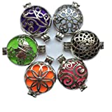 6PCs Mix Style 30mm Silver Locket Essential Oil Aromatherapy Diffuser Pendant Necklace