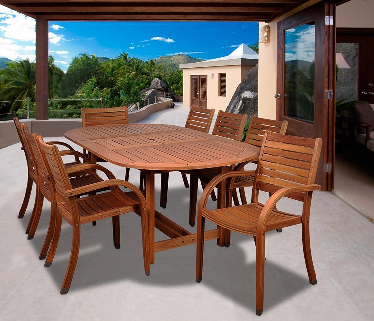 Amazonia Arizona 9-Piece Eucalyptus Oval Dining Set