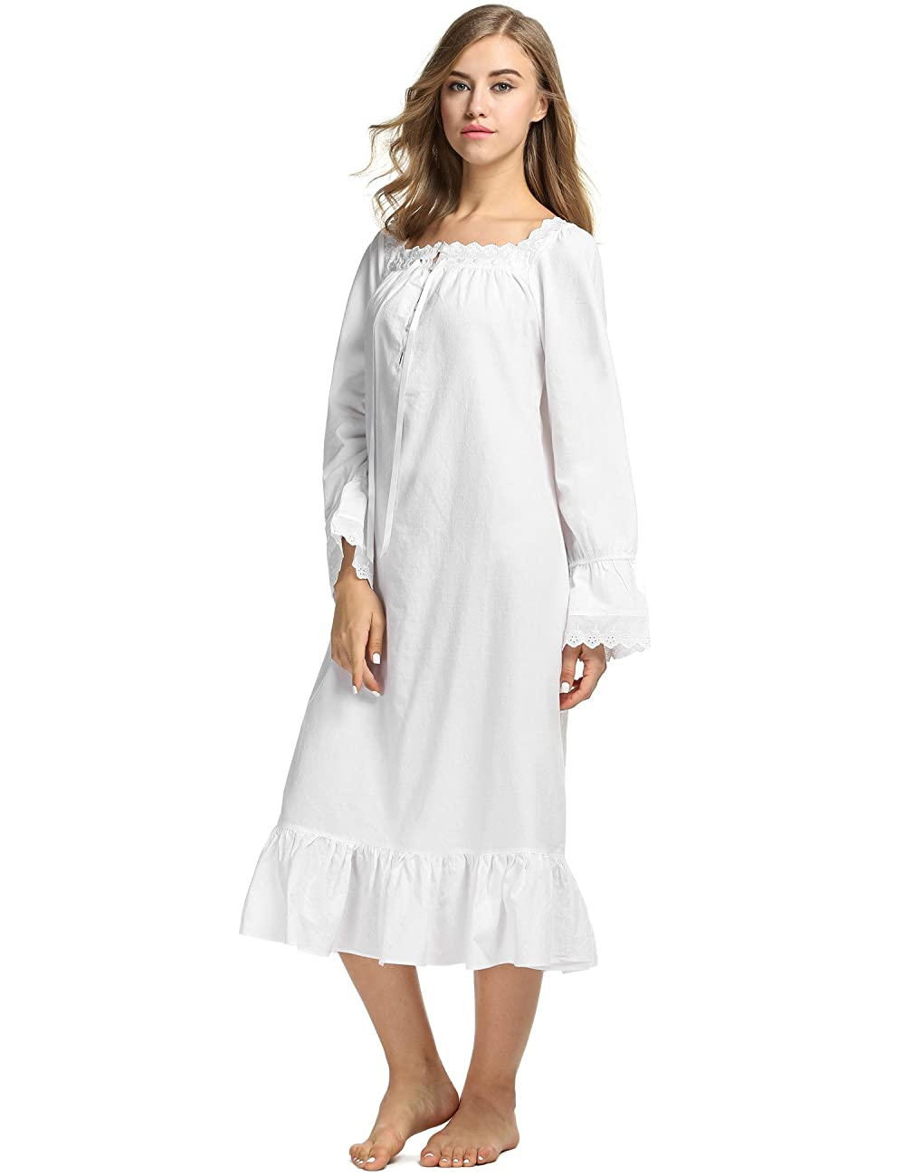 Avidlove Womens Cotton Victorian Nightgowns Romantic Long Bell Sleeve Nightshirt 0