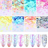 NICOLE DIARY 8 Boxes Mermaid Nail Glitter Semi-transparent Thin Sugar Sequins Colorful Slight Paillette Mermaid Flakes Nail Art Decoration (Color: 42402)
